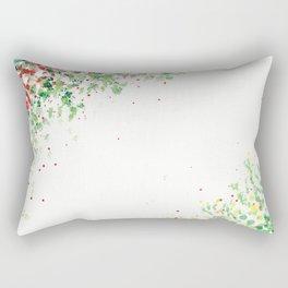 Floral Mosaic Watercolor Painting Rectangular Pillow