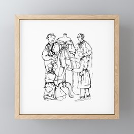 Abstract Woman and Fashion Designer Drawing Figures Framed Mini Art Print