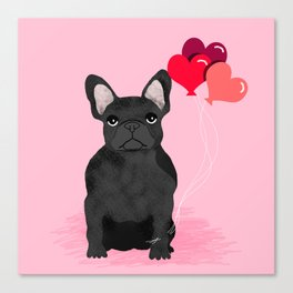 French Bulldog valentines day love balloons hearts black frenchie must have gifts Canvas Print