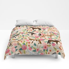 Horses floral horse breeds farm animal pets Comforters