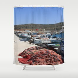 Red Fishing Net and Fishing Boats in Datca Shower Curtain
