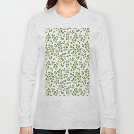 Watercolor green botanical leaves hand painted pattern Long Sleeve T-shirt