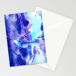 Swirling Marble in Aqua, Purple & Royal Blue Stationery Cards