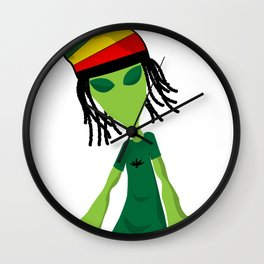 Rastafari Alien Smoking Weed Rasta Marijuana Smoker design Wall Clock