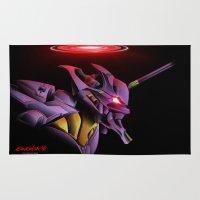 evangelion Area & Throw Rugs featuring Evangelion Unit 01 - Rebuild of Evangelion 3.0 Movie Poster by Barrett Biggers