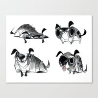 pugs Canvas Prints featuring Pugs by Betsy Bauer