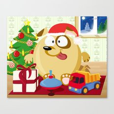 Christmas dog in December month series Canvas Print