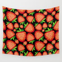 strawberry Wall Tapestries featuring Strawberry by LaDa