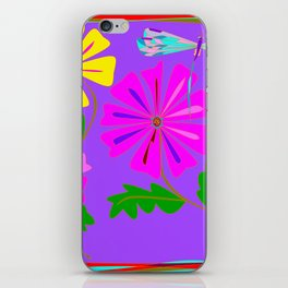 Lavender background of a Floral Design with Dragonfly iPhone Skin