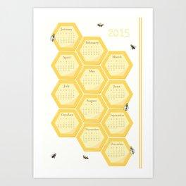 2015 Bees and Honeycomb Calendar Art Print