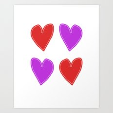 Red and Purple Hearts - 4 hearts Art Print