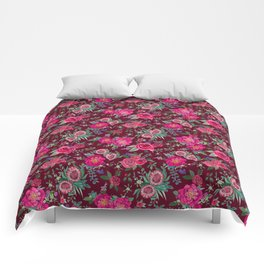 Burgundy Floral Thanksgiving , fall & winter floral in watercolor Comforters