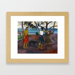 Under the Pandanus by Paul Gauguin Framed Art Print
