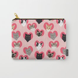 Cute cat collection hearts love valentines day gift for cat lady unique kitten funny illustration  Carry-All Pouch
