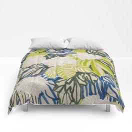 White chrysanthemums -ink floral Comforters