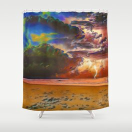 Rage Over The Ocean | Storm Beach Lightening - Oil Painting Shower Curtain