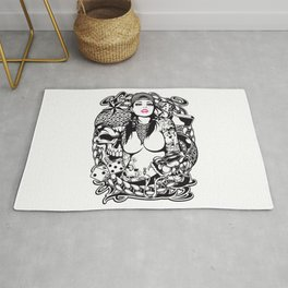 GIRL with SKULL AND SNAKE - PINK Rug