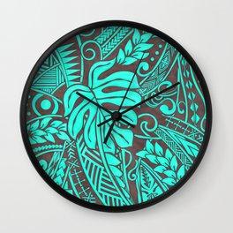 Teal Polynesian Tropical Leaf Design Wall Clock