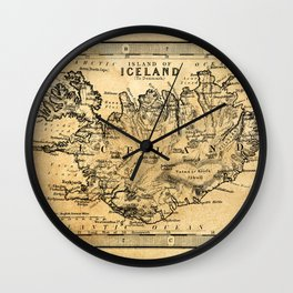 Old Map of Iceland Wall Clock