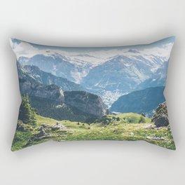 Swiss Alps Summer Landscape Rectangular Pillow