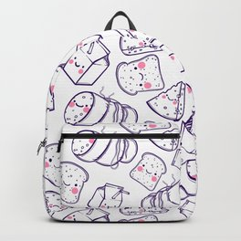 Cute seamless pattern with cartoon cheese, milk. bread and meat sausage. Backpack