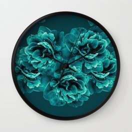 Turquoise Peony Flower Bouquet #1 #floral #decor #art #society6 Wall Clock