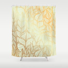 Bohemian Gold Feathers Illustration With White Shimmer Shower Curtain
