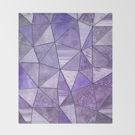 Purple Lilac Glamour Shiny Shimmering Patchwork Throw Blanket