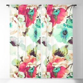 Turquoise Flowers 05 Blackout Curtain