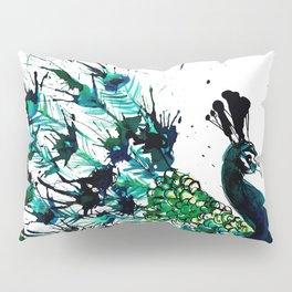 Peacock profile ink splatter Pillow Sham