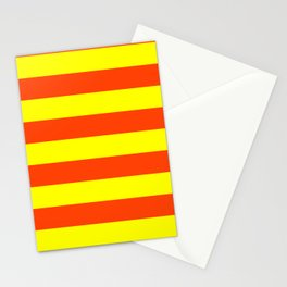 Bright Neon Orange and Yellow Horizontal Cabana Tent Stripes Stationery Cards