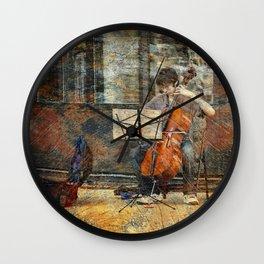 Sidewalk Cellist Wall Clock