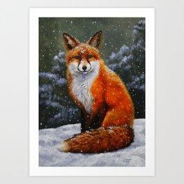 Cute Red Fox in Snow Art Print