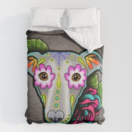 Greyhound - Whippet - Day of the Dead Sugar Skull Dog Comforters