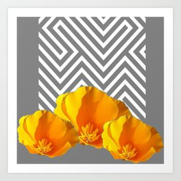 ABSTRACT CONTEMPORARY YELLOW POPPIES PATTERNS Art Print