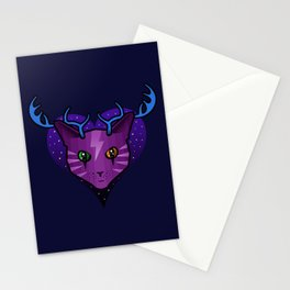 Purple Space Cat (Antlers) Stationery Cards