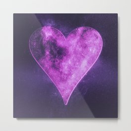 Heart symbol. Playing card. Abstract night sky background Metal Print
