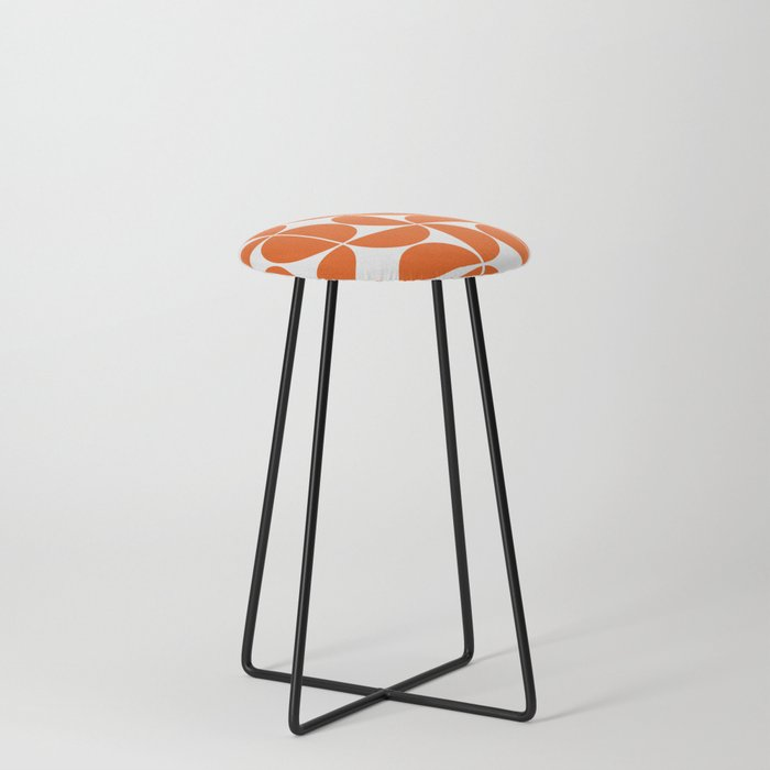 Mid Century Modern Geometric 04 Orange Counter Stool