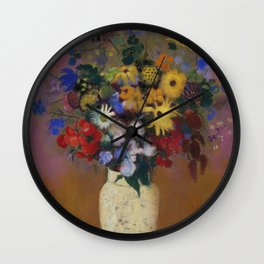Odilon Redon - Large Bouquet In A Japanese Vase Wall Clock