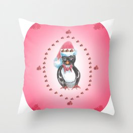 """Christmas Penguin"" Throw Pillow"