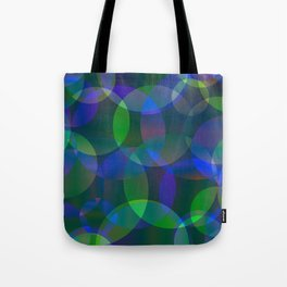Abstract soap made of cosmic transparent blue circles and green bubbles on a languid background. Tote Bag