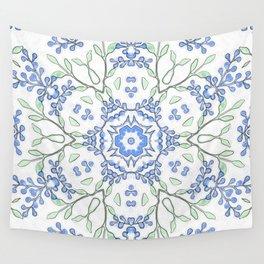 Kaleidoscope Budding Blue Blossoms Print Wall Tapestry
