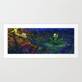 the lizard and the frog Art Print