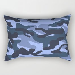 Blue Military Camouflage Pattern Rectangular Pillow