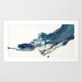 Higher abstract fluid art flow painting white negative space with blues Art Print