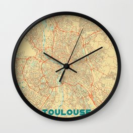 Toulouse Map Retro Wall Clock