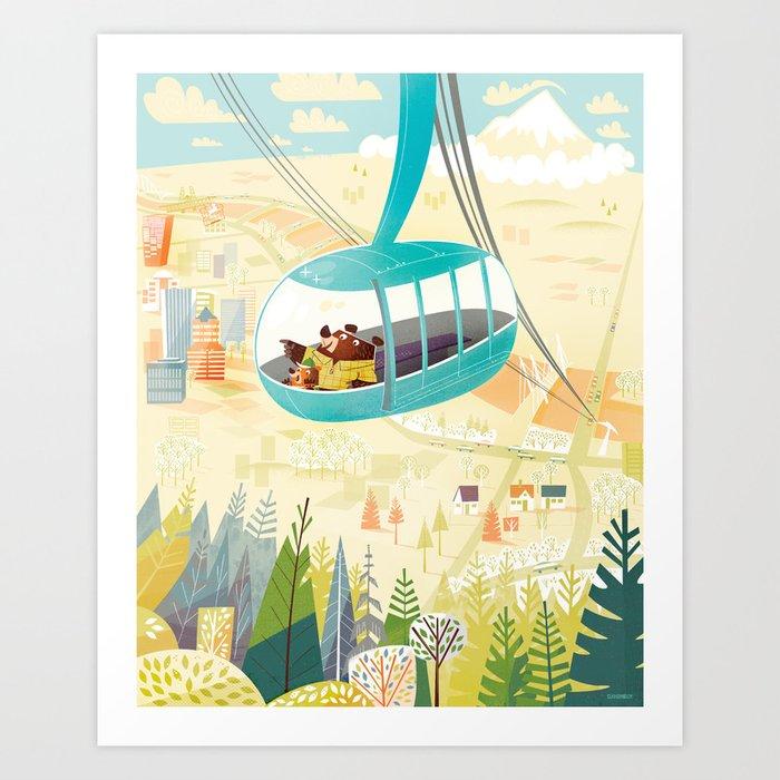 Portland Aerial Tram Art Print