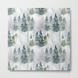 Artistic hand painted green white watercolor trees polka dots Metal Print