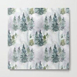 Artistic hand painted green white watercolor trees polka dots Metal Print