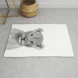 Baby Lion Black & White Art Print by Zouzounio Art Rug